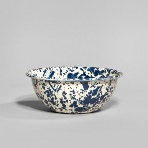 Marbled enamel cereal bowl navy