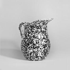 Marbled enamel pitcher black