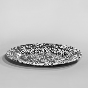 Marbled enamel plate black