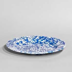 Marbled enamel plate blue