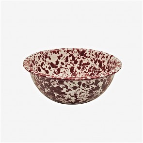 Marbled enamel cereal bowl burgundy