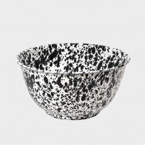 Marbled enamel salad bowl black