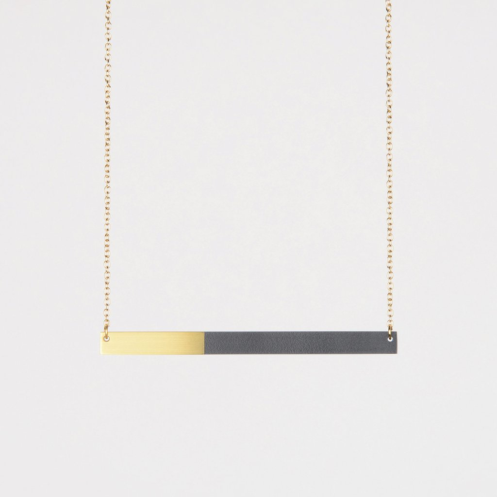 Form Square Necklace Brass & Midnight