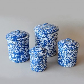 Marbled enamel canisters