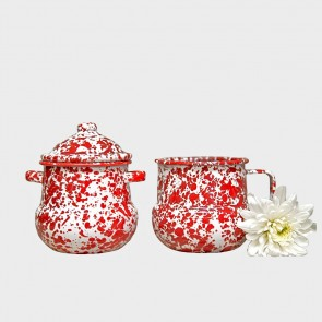 Marbled enamel sugar & creamer set