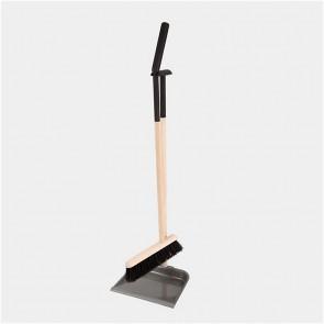Standing dustpan & brush set black