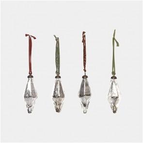 Diamond Glass Baubles x 4