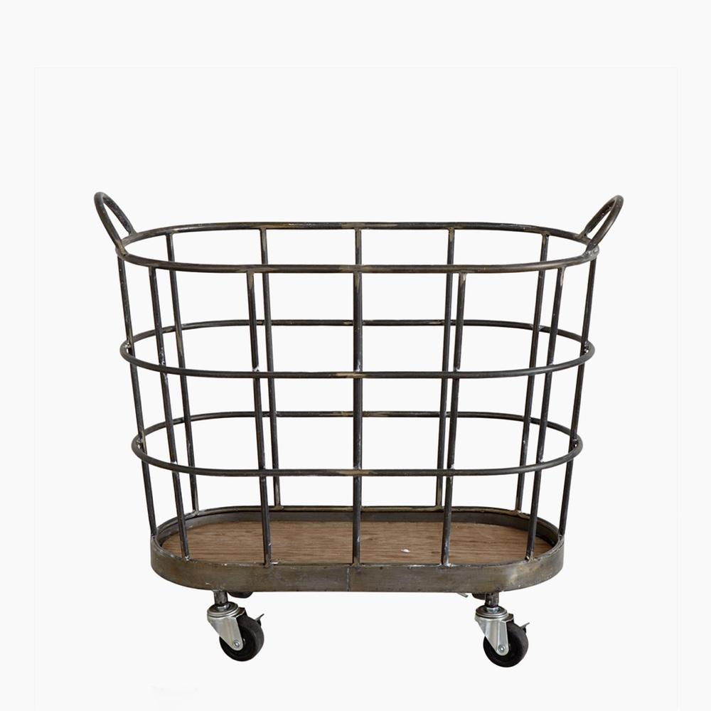 Metal Basket on Wheels