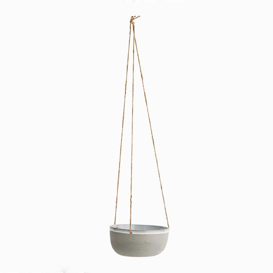 Ceramic hanging pot grey