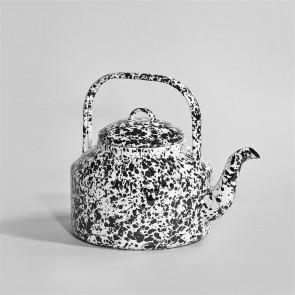 Marbled enamel Tea Kettle Black