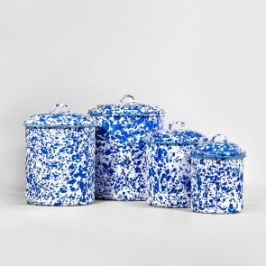 Marbled enamel canisters blue