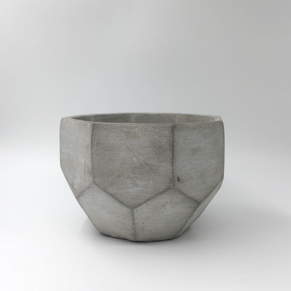 Cement Faceted Pot