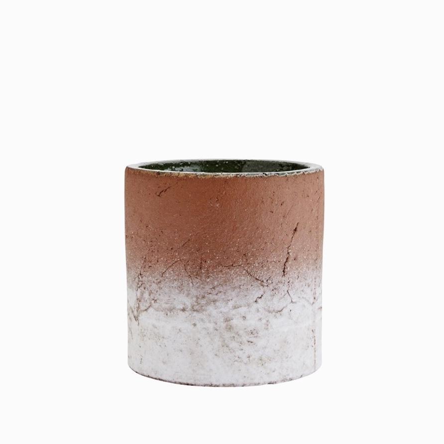 Aged terracotta pot half-glazed large