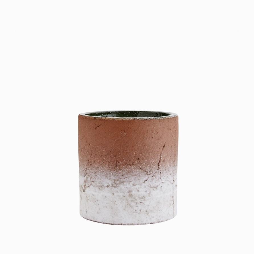 Aged terracotta pot half-glazed small