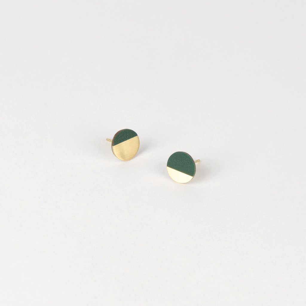 Form Circle Earrings Brass & Forest