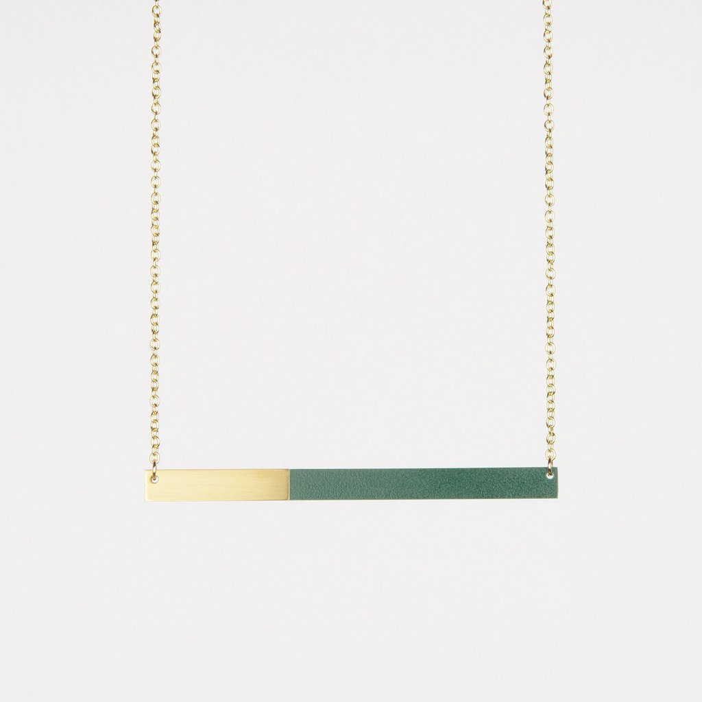 Form Square Necklace Brass & Forest