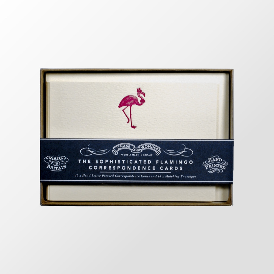 The Sophisticated Flamingo Correspondence Cards