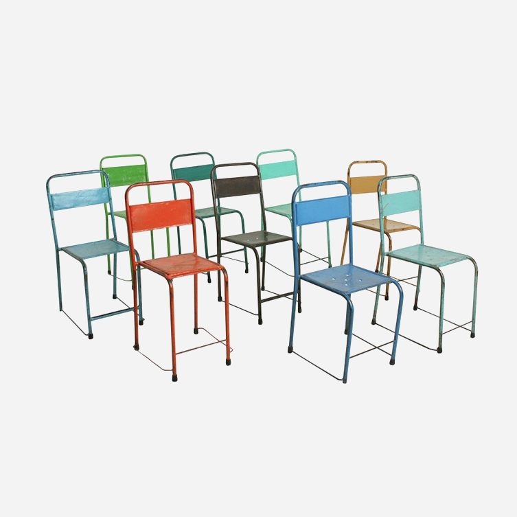 Coloured iron chairs