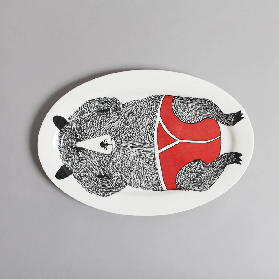 Relaxing Bear Serving Platter