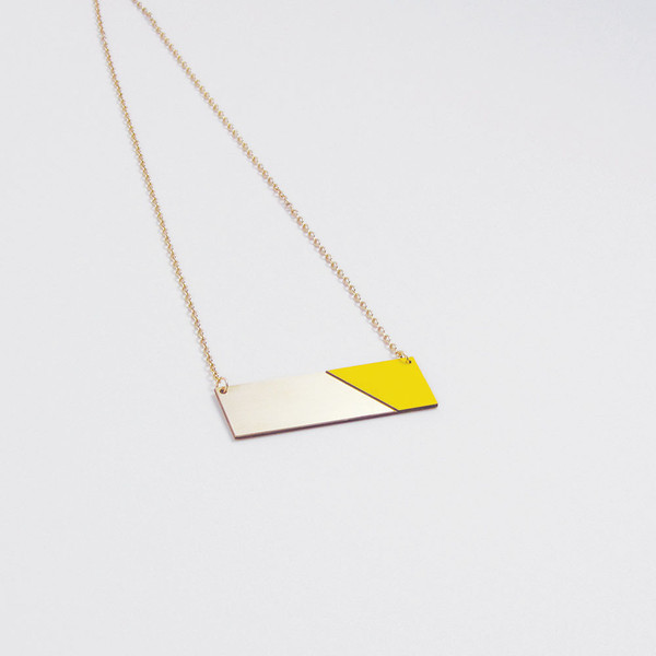 Brass & Formica Necklace Yellow