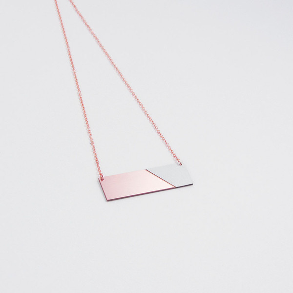 Copper & Formica Necklace Grey