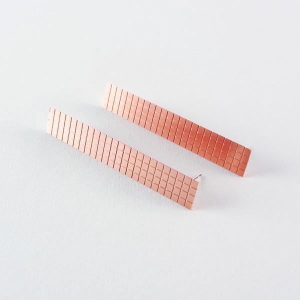 Copper Earrings Grid Maxi