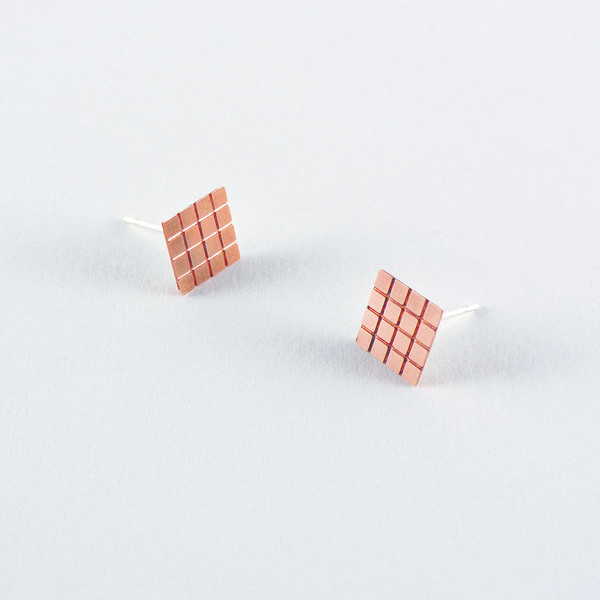 Copper Earrings Grid Mini