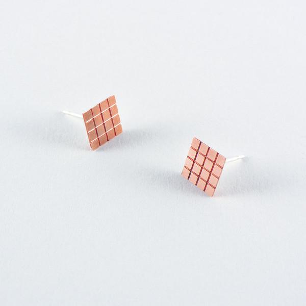 Copper Earrings Grid Mini