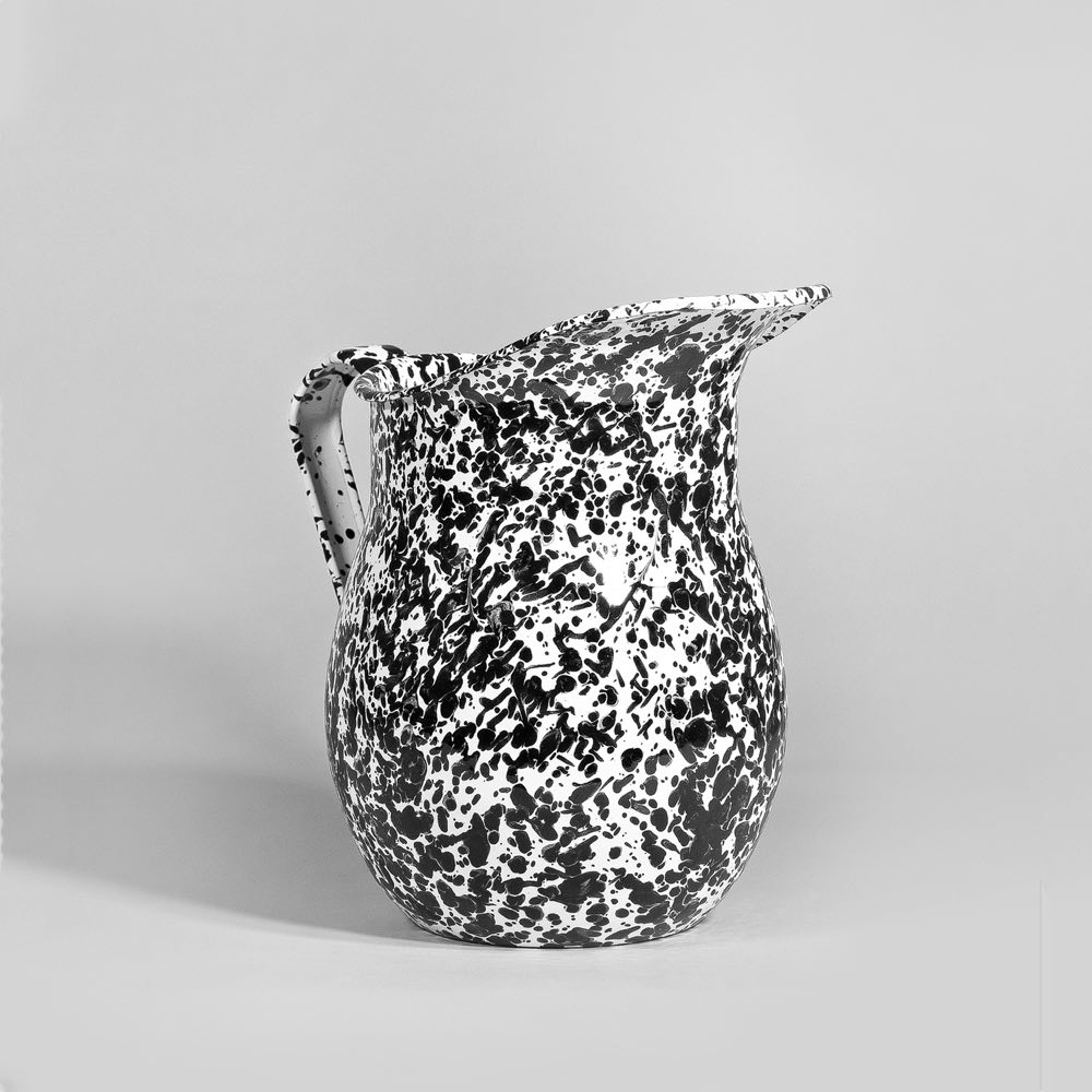 Marbled enamel pitcher black