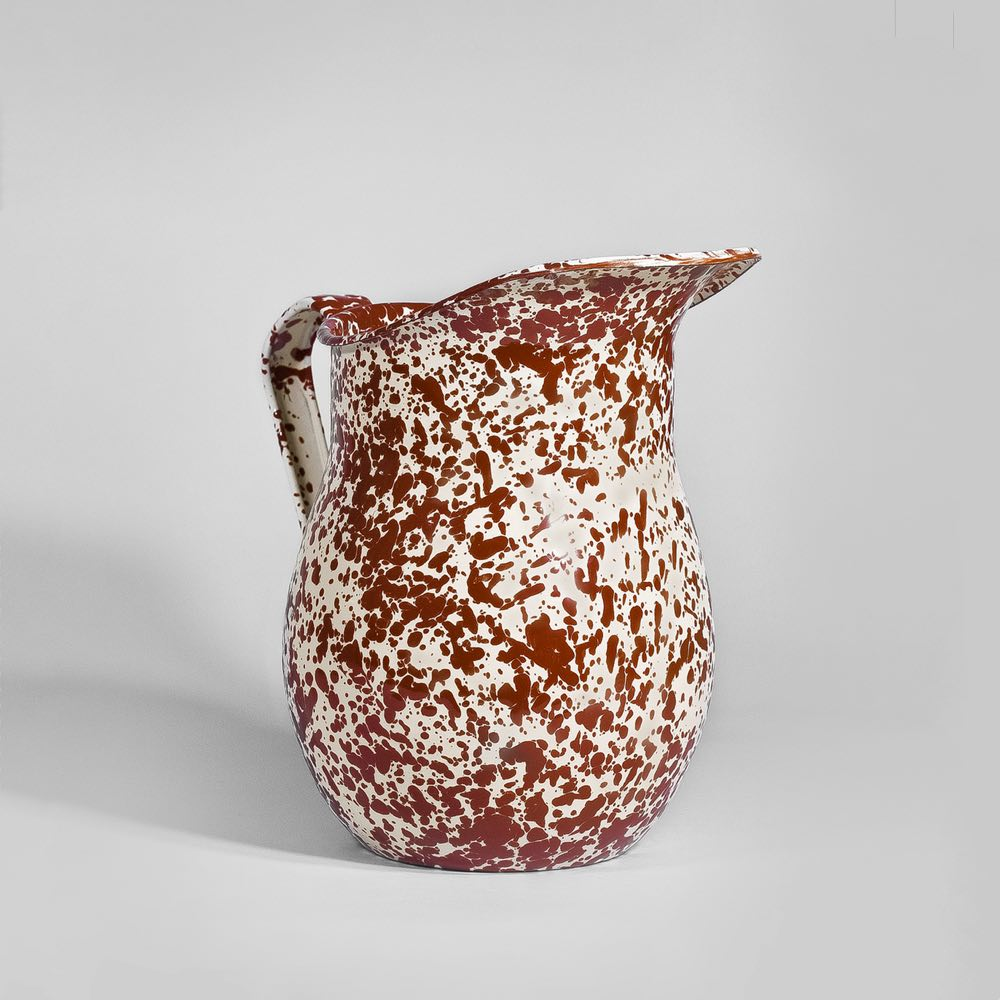 Marbled enamel pitcher burgundy