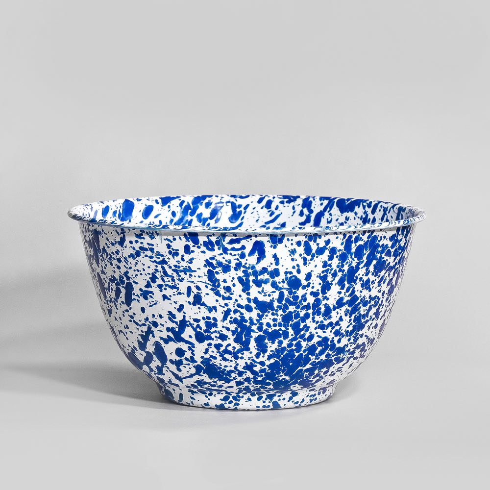 Marbled enamel salad bowl blue