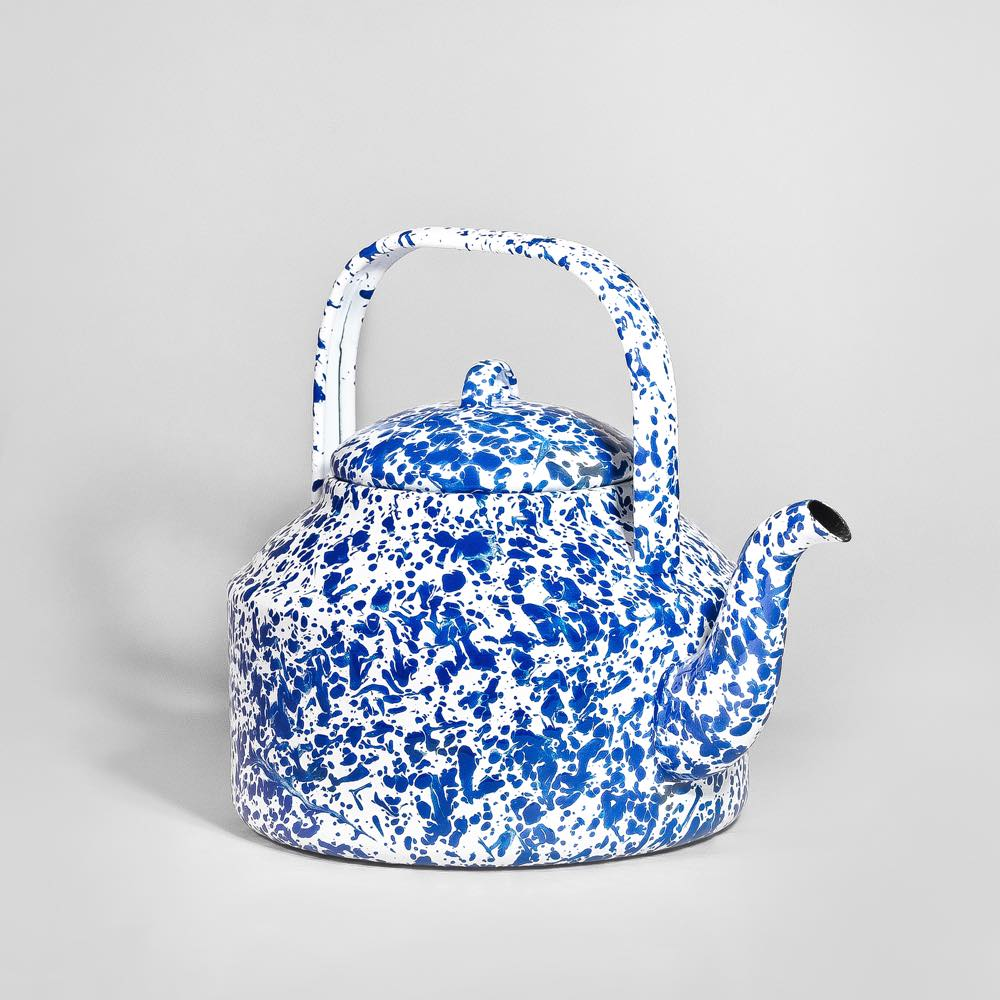Marbled enamel Tea Kettle Blue