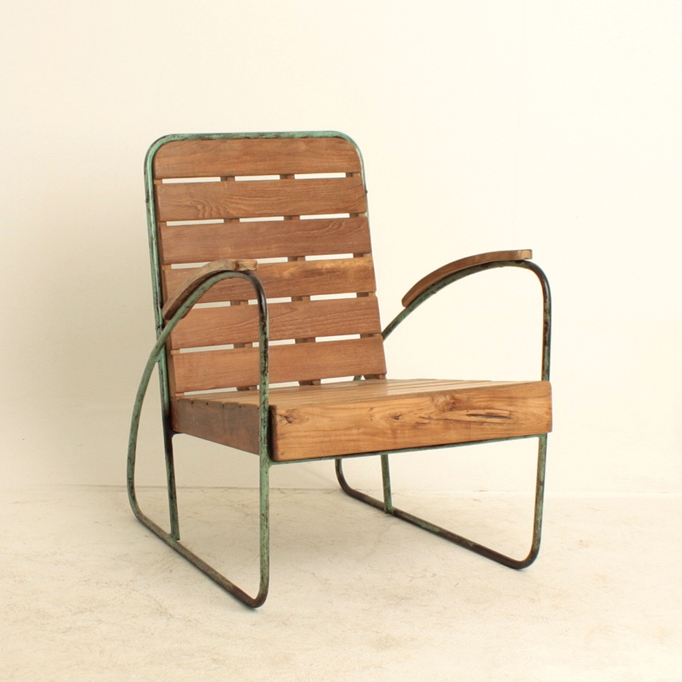 Metal Teak Easy Chair