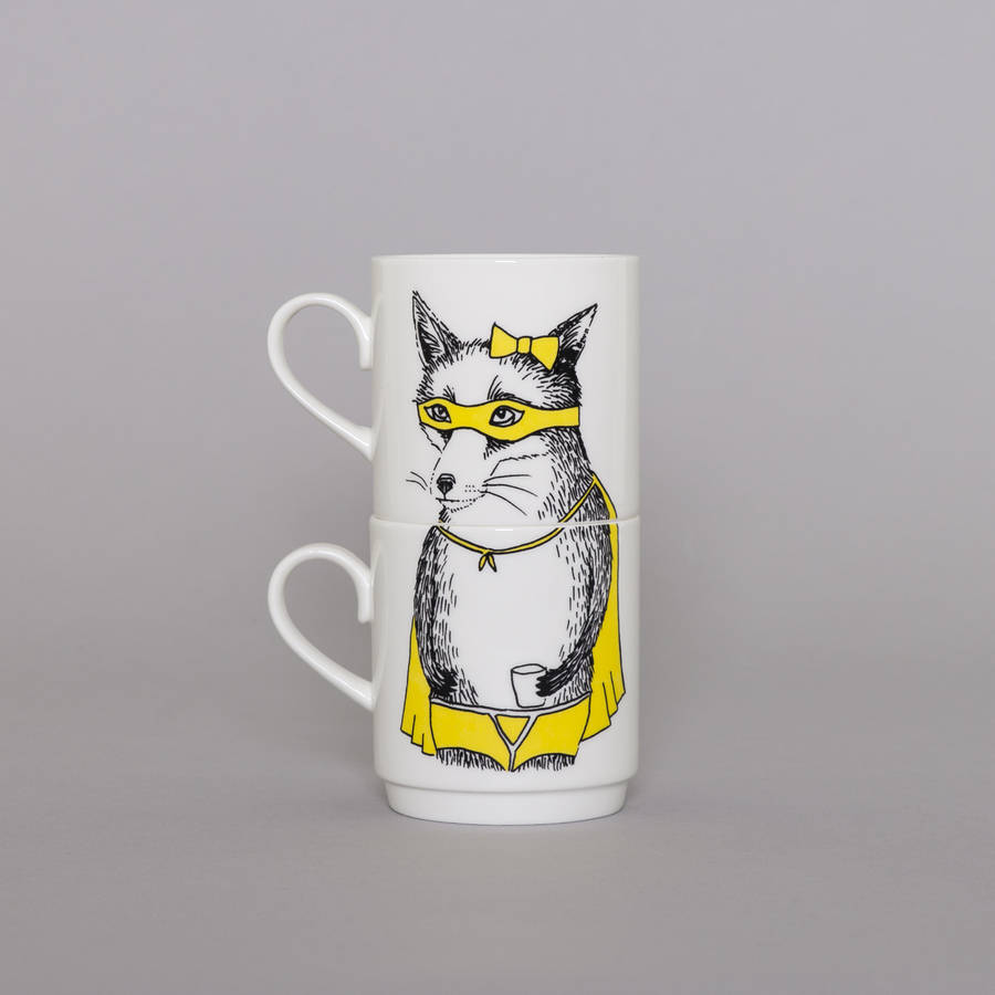 The Bandit Fox Stackable Tea Mugs