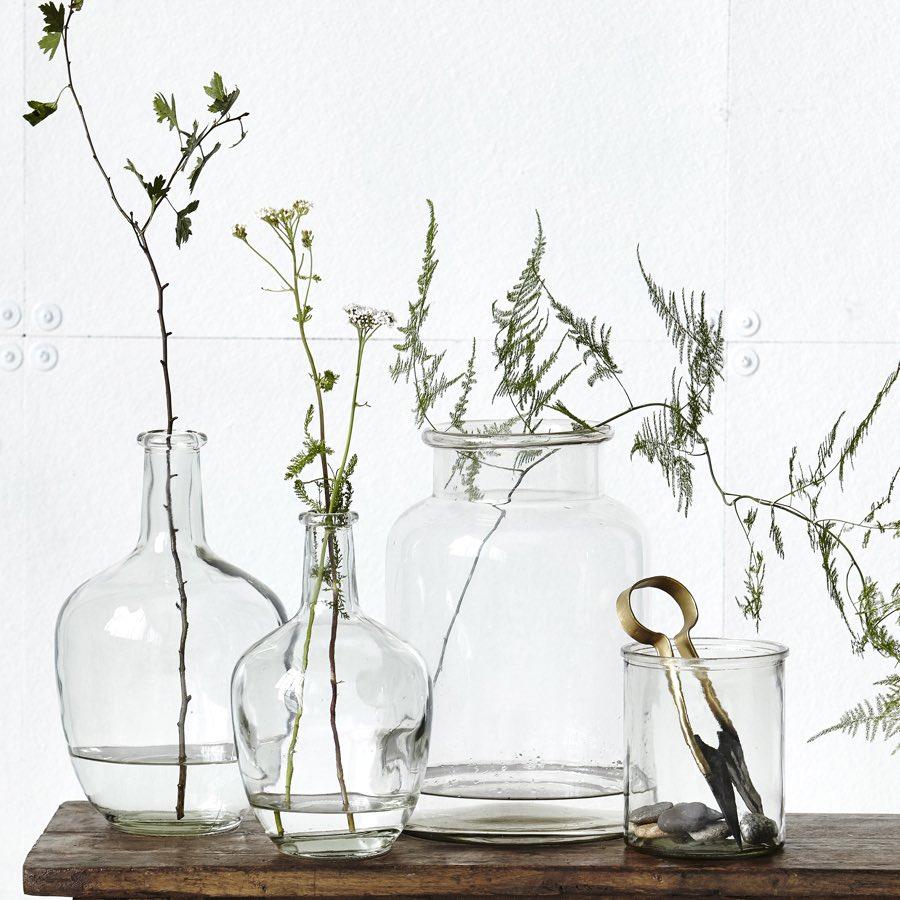 Bottle Form Clear Vase