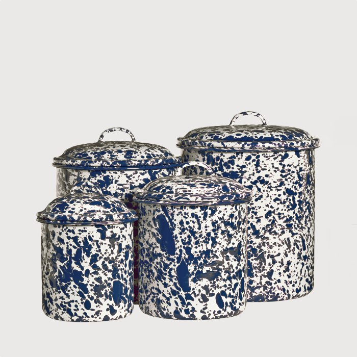 Marbled enamel canisters navy