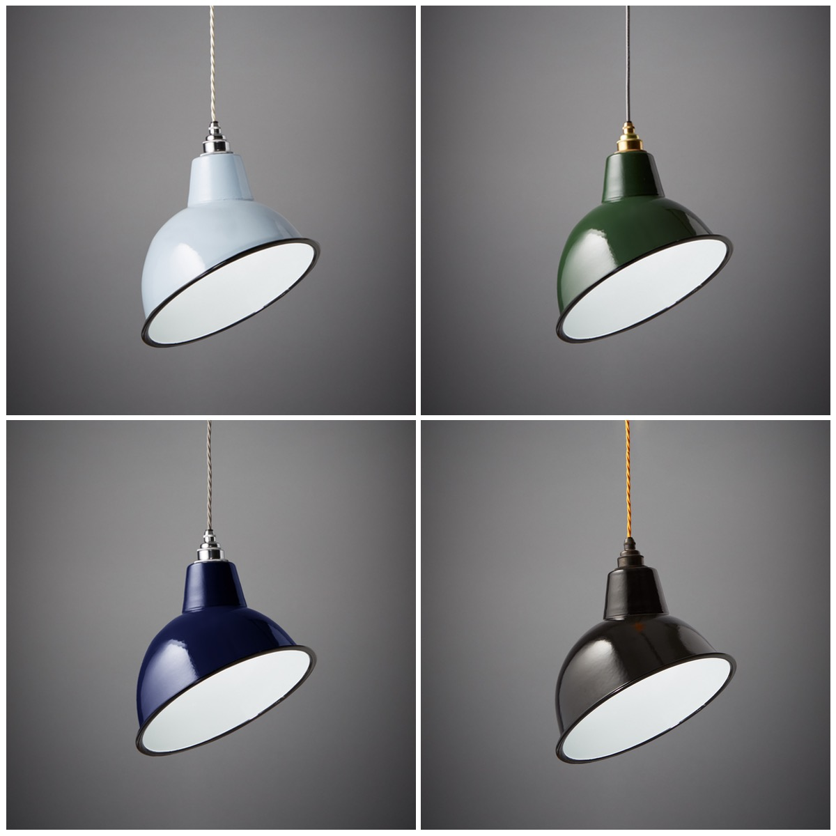 Angled Cloche Enamel Shades Large