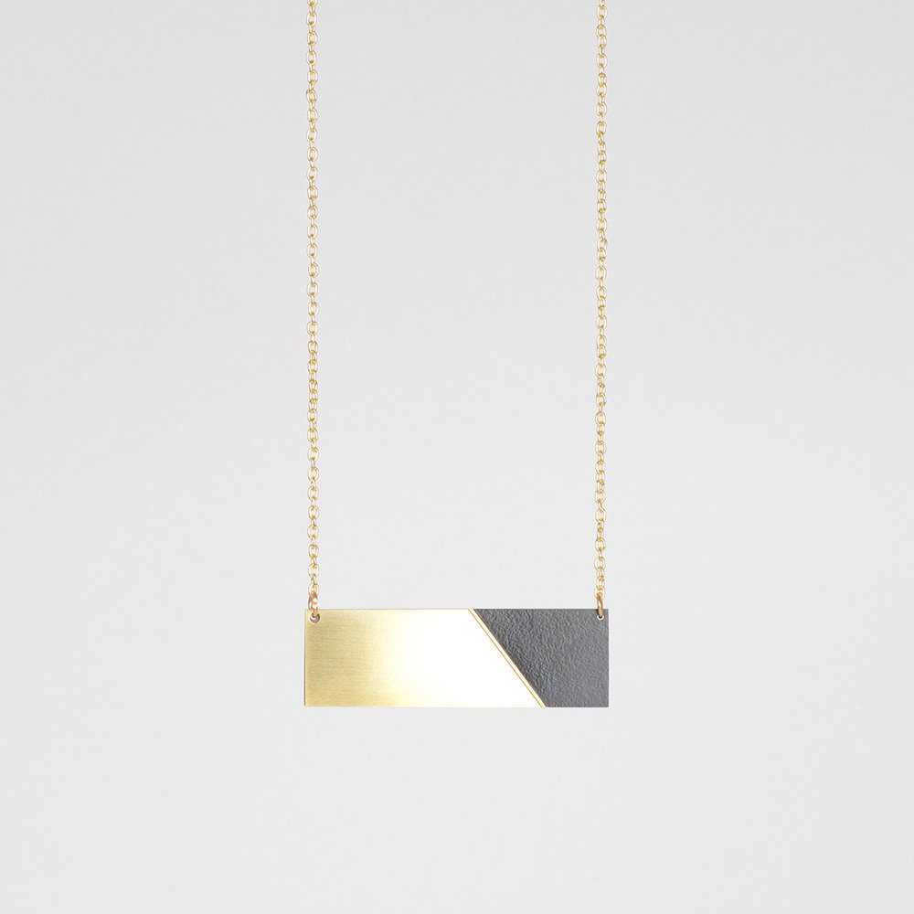 Brass & Formica Necklace Black