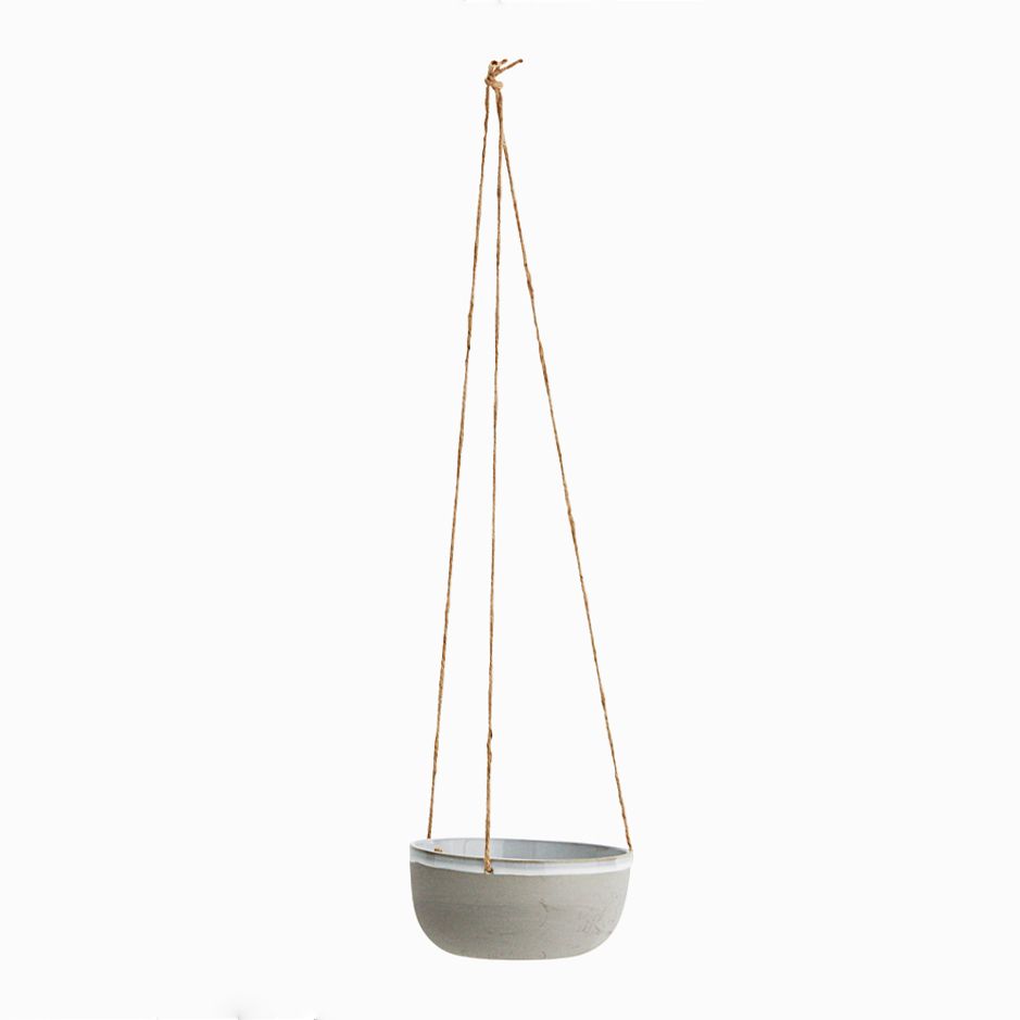Ceramic hanging pot grey
