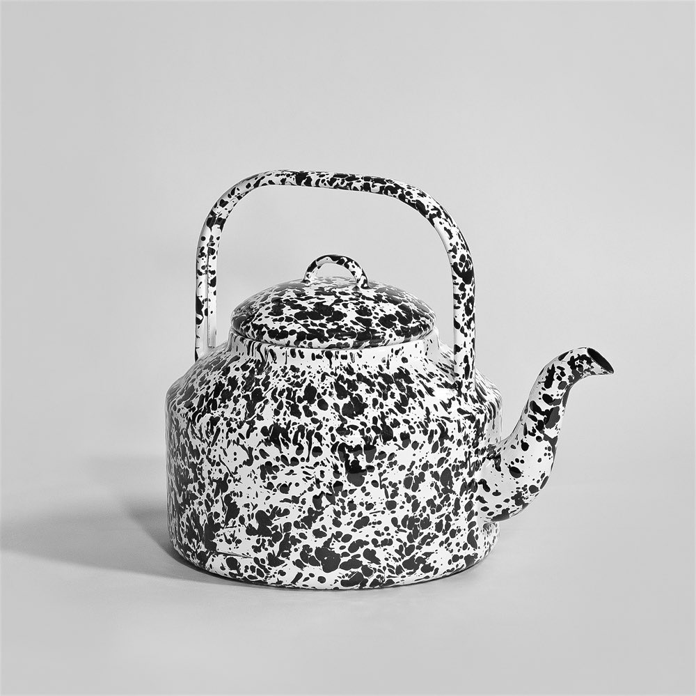 Marbled enamel Tea Kettle Black