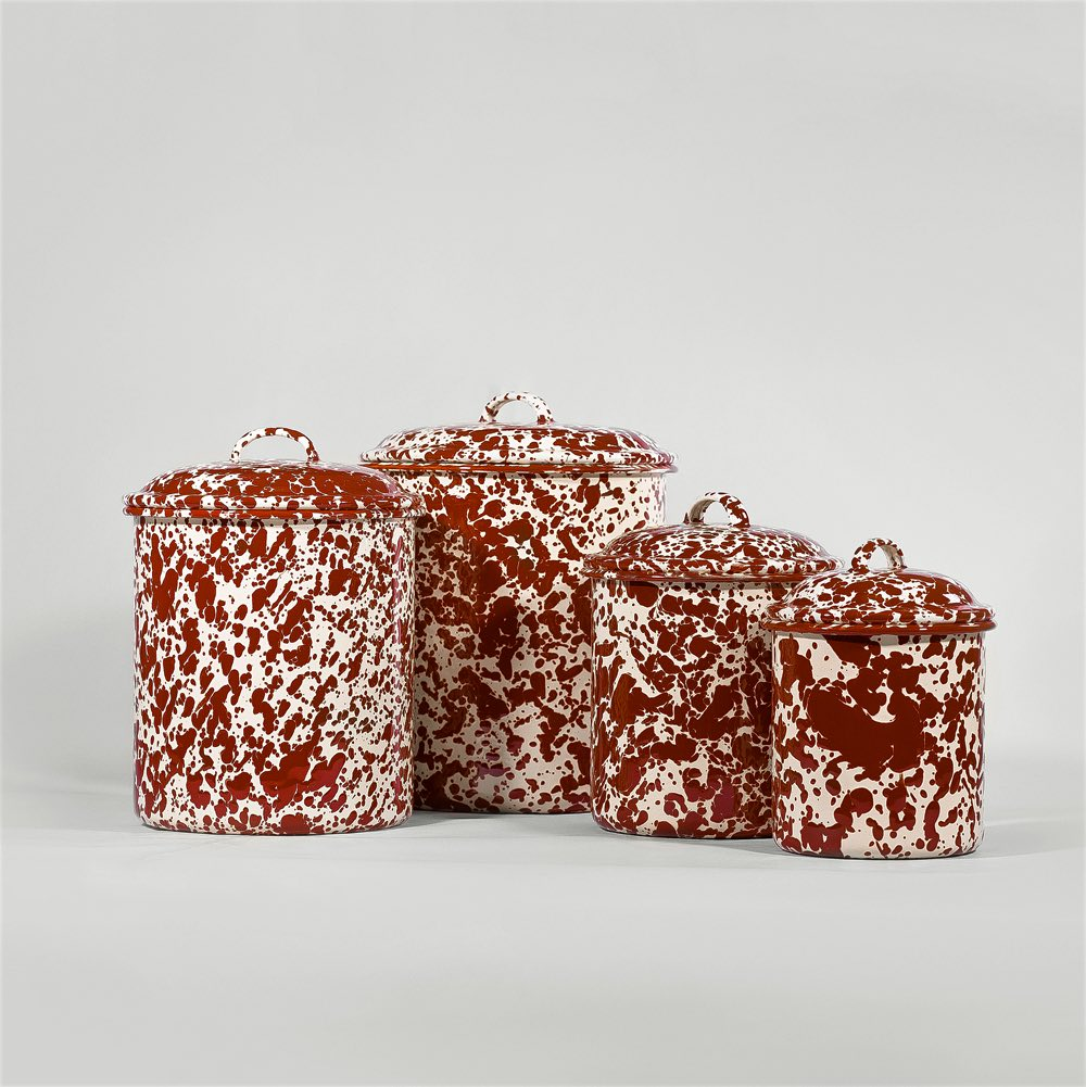 Marbled enamel canisters burgundy