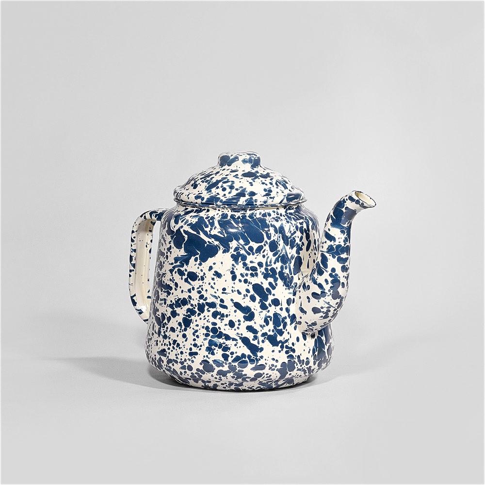 Marbled enamel Teapot Navy