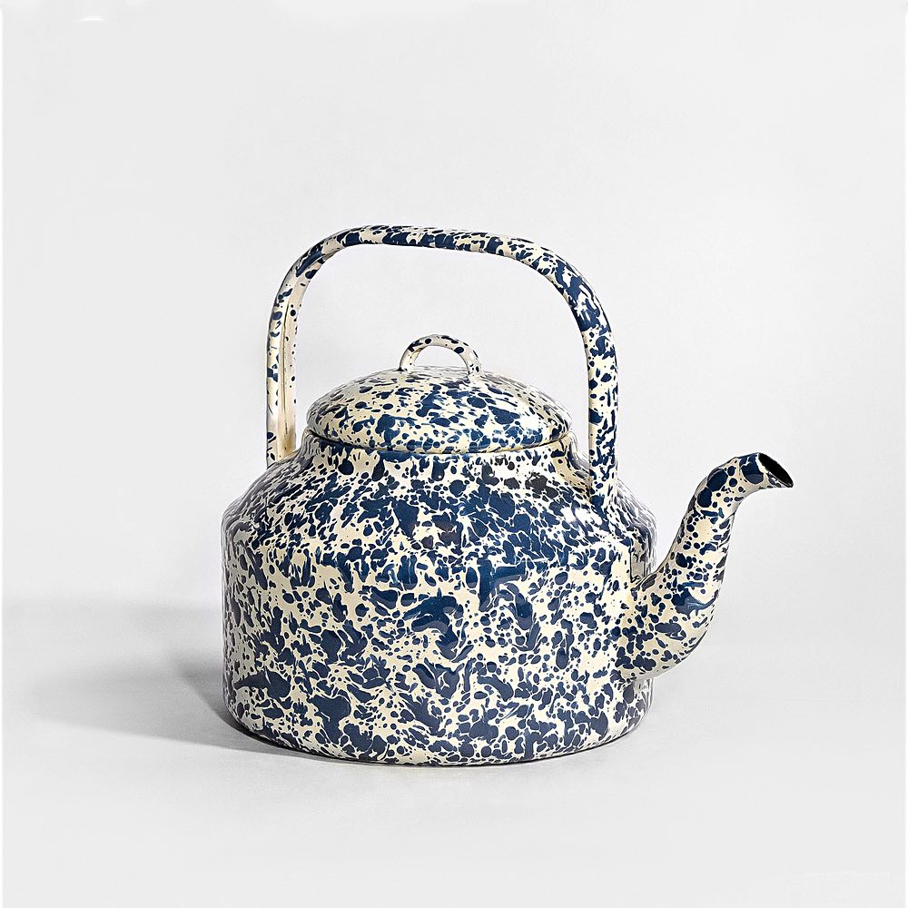 Marbled enamel Tea Kettle Navy