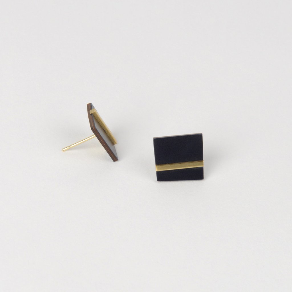 Form Square Earrings Brass & Midnight