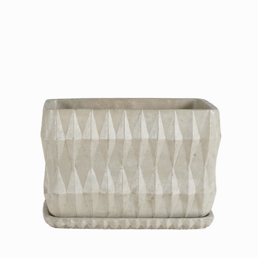 Otto rectangular pot with tray