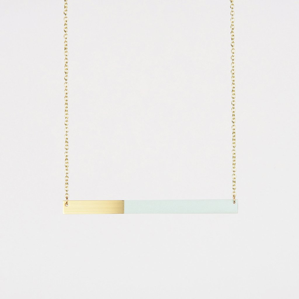 Form Square Necklace Brass & Ice