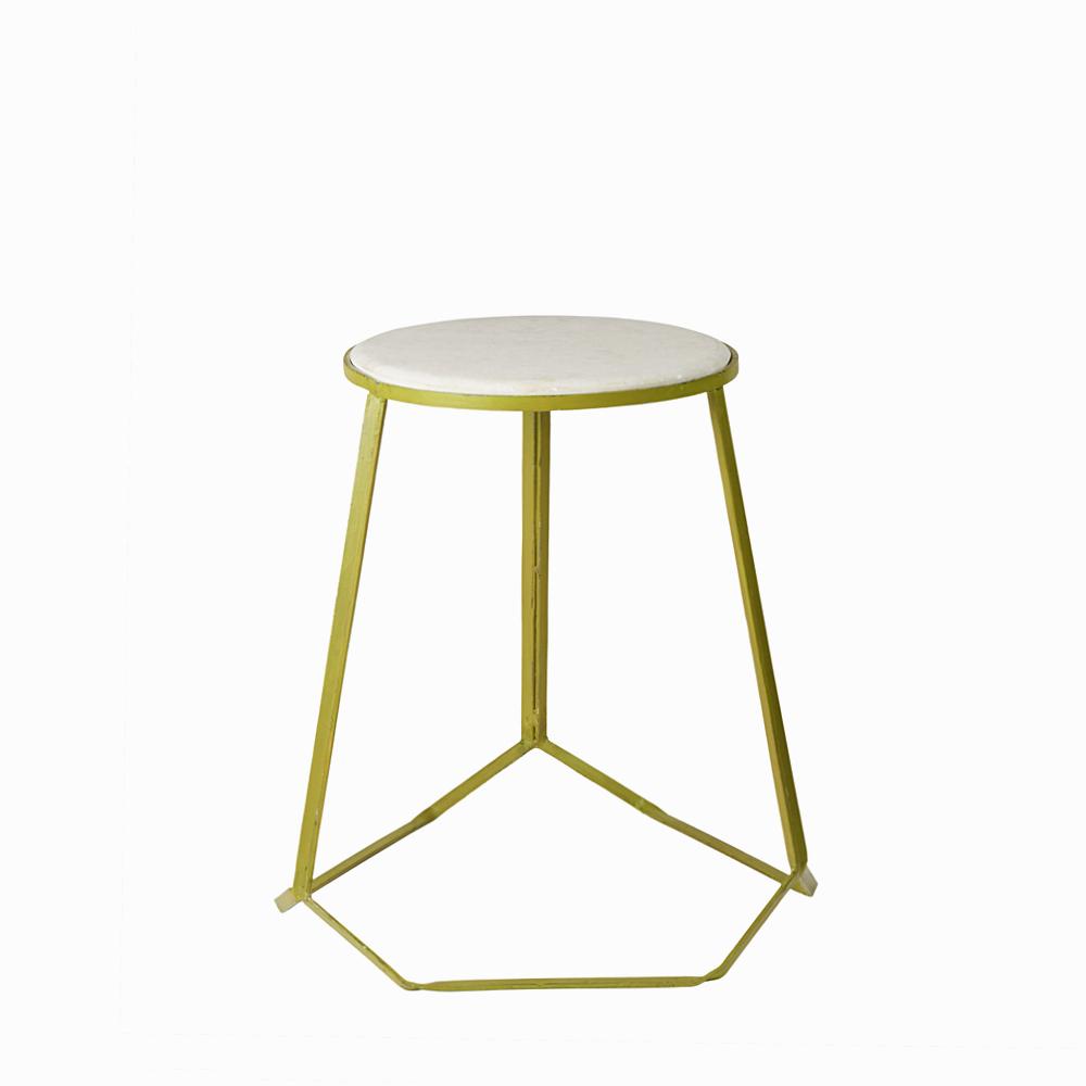 Marble top iron stool