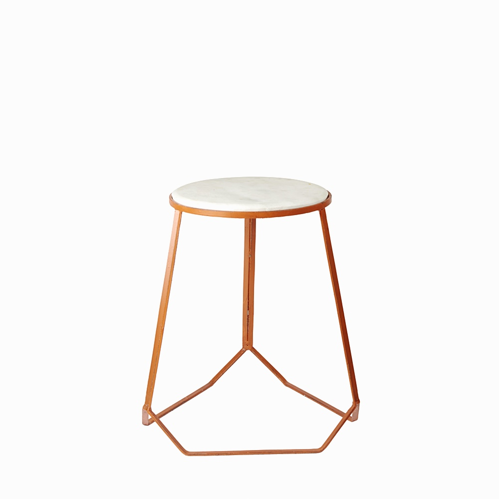 Marble top iron stool