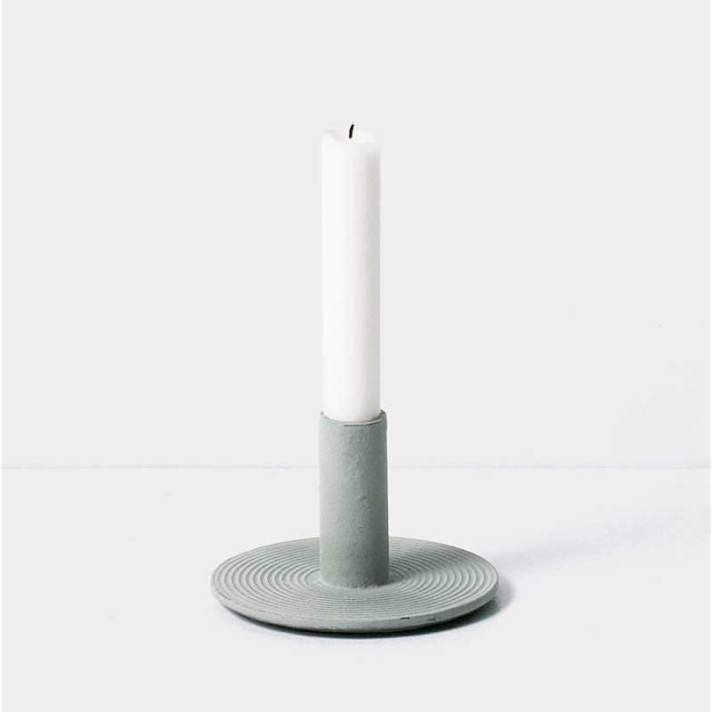 Cast Iron Candle Holder Dusty Green