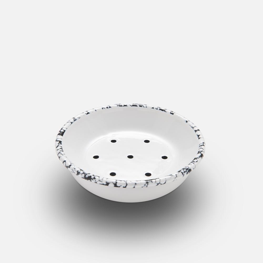 Round Enamel Soap Dish White